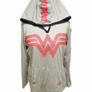 Under Armour DC COMICS ORIGINALS Gray Hooded Long Sleeve Sweatshirt Wonder Woman